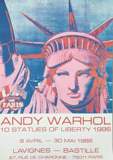 Andy Warhol (after) - 10 Statues of Liberty - Art poster