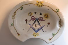 Masonic porcelain shaving bowl with initials J.B.