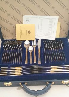 "SBS Solingen cutlery case, 70 pieces - ""Riga"" Model - 18/10 stainless steel, 23/24 karat hard gold plated,"
