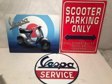 3 Vespa signs - 2 heavy USA Steel 2010 - 1 round Enamel Logo ca. 1999-2005