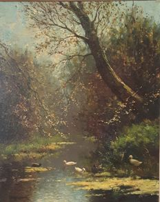 Constant Artz (1870-1951) - Ducks in a forest stream