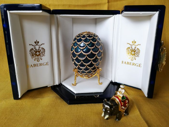 """Authentic Faberge Egg """"Blue Imperial Pine Cone Egg"""""""