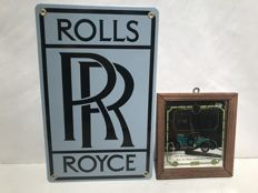 Rolls-Royce enamel sign ca. 2010 and mirror 1907 Silver Ghost ca.1970