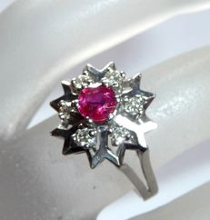 Ring 14 kt / 585 white gold with 0.20 ct Diamonds + natural ruby approx. 0.40 ct Ring size 50 / 16 mm adjustable through us