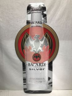 Bacardi Silver promo big metal sign - Early 2000