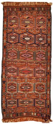 (Measurement: 300 x 122 cm) - Kilim, Turkey - 100% wool handmade rug with certificate of authenticity from an official appraiser (Galleria Farah 1970)