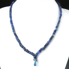 Necklace with Roman blue glass beads - 50 cm