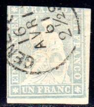 Switzerland – 1854 – 1 franc bluish grey, Michel 18 II Ayna