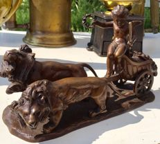 Clovis-Edmond Masson (1838-1913) - bronze sculpture of a putto in a chariot drawn by lions - France - end of the 19th century