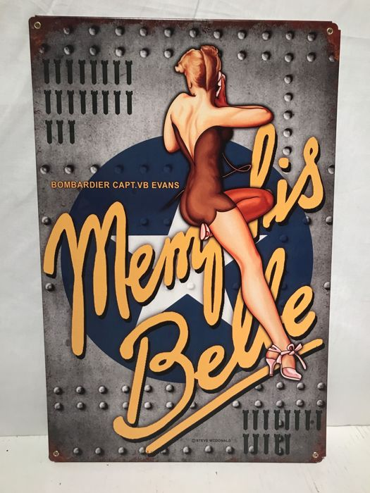 Memphis Belle by Steve McDonald Airforce - Pin - Up -heavy steel billboard - 2010 USA