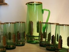 Green set - pitcher with 6 glasses, hand decorated with gold
