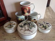 Villeroy & Boch - 3 trinket boxes and 3 mugs