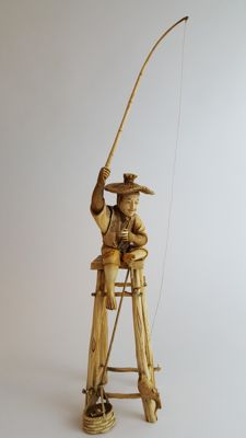 Ivory carving of Fisherman - Japan - 19th century