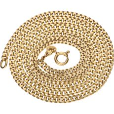 18 kt Yellow gold curb link necklace – Length: 55 cm.