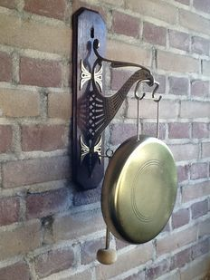Gong for on the wall, in the form of a lyre bird, the Netherlands, early 20th century