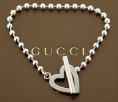 """Gucci - Sterling silver ladies bracelet """"Toggle Heart"""" Italy c.1990 - Length : 19.5 cm *** no reserve price ***"""