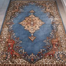 Stunning blue Kashmir Qum carpet – 195 x 140 – Incredibly appearance