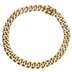 14 kt – Broad yellow gold curb link bracelet – Length: 21.3 cm