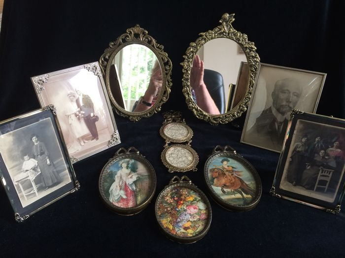 11 Piece Lot Of Vintage Picture Frames And Mirrors 2nd Half Of 20th