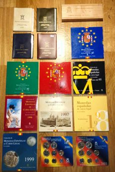 SPAIN – Juan Carlos I – All of the official FNMT portfolios, 1976/2001, in pesetas – (15 portfolios – 111 coins)