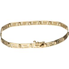 14 kt yellow gold link bracelet with a Greek pattern – Length: 19 cm