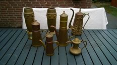 Set of 7 copper coffee pots / teapots and large vases