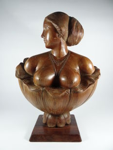 Carving of a woman sculpture Art Nouveau Art Deco style - India - early 20th century