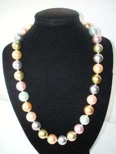 Kenneth Jay Lane - Signed pastel Beads Necklace with gold plated marked clasp