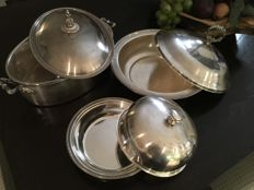 Lot silver plated dishes with lid