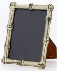 Vintage silver plate, glass and wooden picture frame, ca.1980