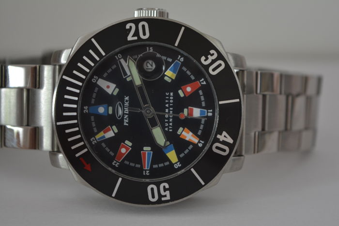 PEN DUICK Éric Tabarly´diving watch Nautic Flag automatic waterproof 100M.