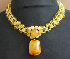 Natural Baltic Amber necklace with pendant yellow honey colour, 48grams