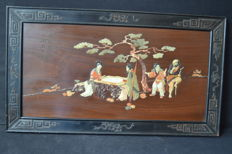 Large panel with Stone embossed scene - signed - China - mid 20th century