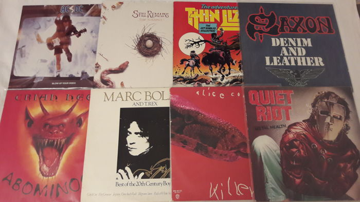 Set of 8 Hardrock / Metal LP Album - T.Rex (2 LP Album), Alice Cooper, Quiet Riot, AC/DC, Still Remains, Thin Lizzy, Saxon, Uriah Heep.