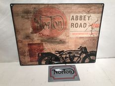 Norton Motorcycles advertising signs - Norton Abbey Road USA Steel - Emaille Norton Logo