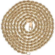 14 kt Yellow gold twisted link necklace – Length: 83 cm.