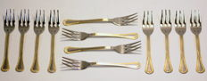 Vintage Italian silver plate set of  12 forks, ca.1970