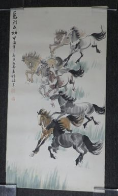 A scroll painting of 8 horses - China - late 20th century