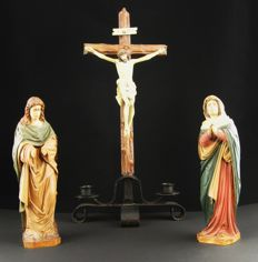Ancient polychrome wooden triptych, Crofissione del Cristo - Naples, Italy, early 1900.