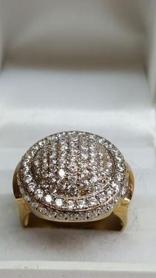 18 kt yellow gold unisex ring, fully set with zirconia / ring size 18