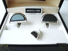 Fifth Avenue - USA - dress set: cuff links & tie tack in original box, No Reserve, vintage 1970's