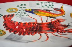 Large dish with a lobster and fish handpainted relief, 60cm