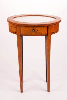 Carved cherry wood small oval display stand - France, ca. 1860