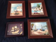 Vintage maritime artwork The Golden Hind in bronze and Painting in oil on canvas