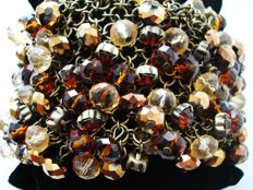 Vintage - (1970s)  - Massive Cha-Cha Statement Bracelet with Topaz Glass beads - NO Reserve