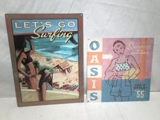 2 Beach pin-up theme signs - Oasis Sunwear on the Boardwalk. - Let's Go Surfing - 2010 USA