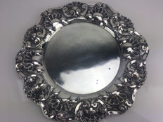 Large silver tray, Porto, Portugal, 20th century.