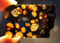 Beautiful Brahin Meteorite - Best Pallasite with Olivine - 42 x 29 x 2 mm - 5.5 gr
