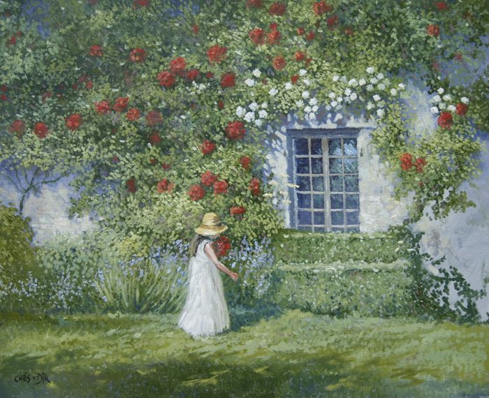 Chris van Dijk (1952) - Girl in front off red and white roses in a garden