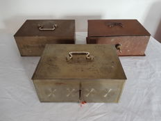 Beaumont three vintage steel money boxes, safes with key, France, 1930s